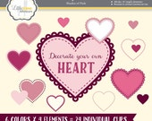 Heart Clipart, Hearts Clip Art, Valentine Clipart, Heart Images, Heart Graphics, Stitched Hearts