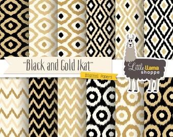 Ikat Digital Paper, Black & Gold Ikat Digital Backgrounds, Ikat Scrapbook Paper, Instant Download, Commercial Use