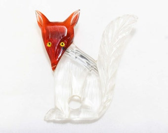 1940s Fox Brooch - Clear Carved Lucite & Root Beer Plastic Pin - 40s Figural Brooch - Transparent Plastic - Vintage Vixen - Rare - 45971