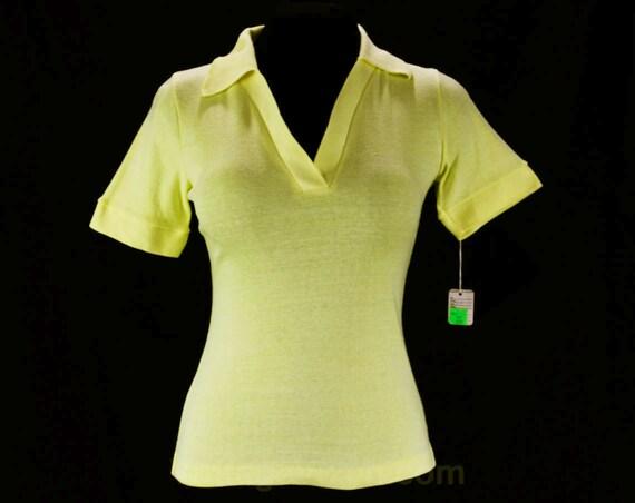 Size 4 Yellow Polo Shirt Xs Cotton Top 1960s Summer Shirt
