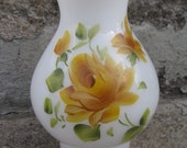 vintage milkglass hurricane shade hand painted yellow roses scalloped edge cottage decor shabby