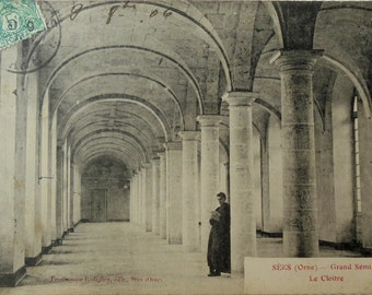 French Antique Postcard - The Cloister at the Grand Seminaire, Sées, France