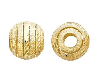 14K Solid Yellow Gold 11mm Round Open Diamond-Cut and Textured Lines Bead