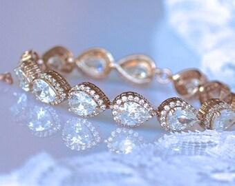 Rose Gold Teardrop Crystal Bracelet, Rose Gold Bridal Bracelet, Crystal Bridal Jewelry, Crystal Wedding Bracelet, TAMARA RG