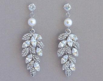 Wedding Earrings, Crystal Bridal Earrings, Chandelier Earrings,  Bridal Jewelry, Wedding Jewelry, EMERALD P