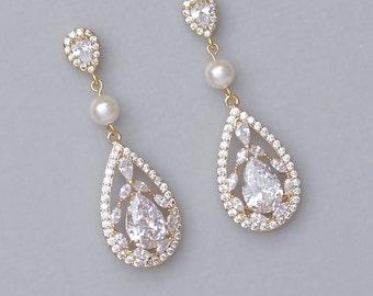Gold Chandelier Earrings, Gold Bridal Earrings, Gold Crystal Earrings, Vintage Wedding Earrings, COCO P
