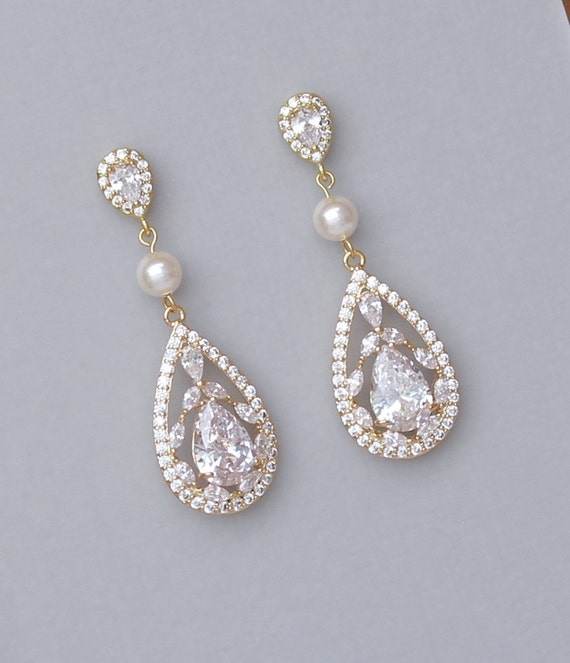 Gold Chandelier Earrings Gold Bridal Earrings Gold Crystal