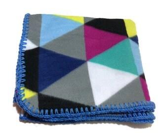 Geometric Fleece Throw, Triangle Blanket, Geometric Blanket, Boho Blanket, College Dorm Girl, Dorm Decor, Blue Crochet Edge, Rainbow Blanket