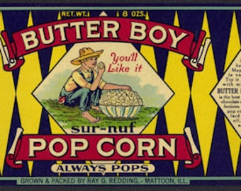 1920s Scarce Butter Farm Boy Popcorn Ray Reding Mattoon IL Illinois Antique Vintage  Label