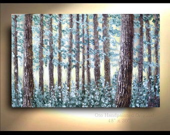 Landscape Conifer Tree Forest Painting Yellow Green Heavy Textured  Pine Art Abstract Artwork Textured  Modern Contemporary by OTO
