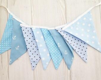 Boy room decoration , fabric garland , blue fabric banner