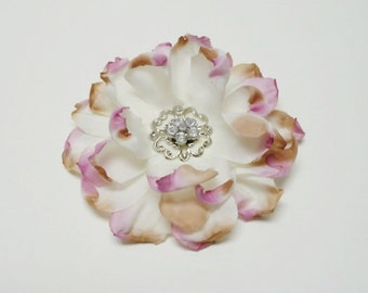 Silk Flowers - One Small White Peony With Lavender and Khaki Embellished with Vintage Inspired Crystal Detail