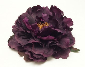 Silk Flower - One Fabulous Jumbo Deep Eggplant Purple Peony - 6 Inches - Artificial Flowers