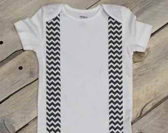 Black and White Chevron Iron On Suspenders Applique DIY