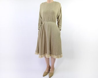 VINTAGE 1980s Dress Natural Knit Fringe