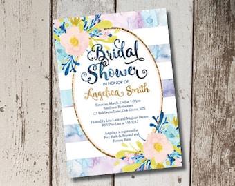 Bridal Shower Invitation, Watercolor Invitation, Floral Invitation, Shower Invite