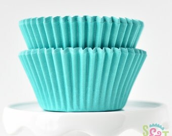 Solid Teal GREASEPROOF Cupcake Liners BakeBright Baking Cups | ~30 count