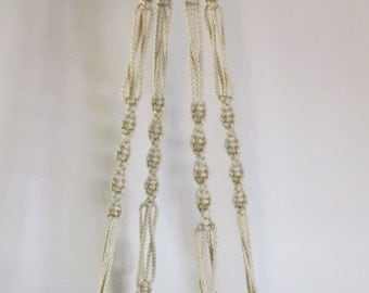 MACRAME PLANT HANGER Vintage Style 48 inch 6mm Pearl cord  (Choose Color)