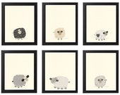 Baby Nursery Art Nursery Art Decor close-up portraits Set of Prints for baby sheep Lamb match to little sleepy sheep Black White Cream Tan