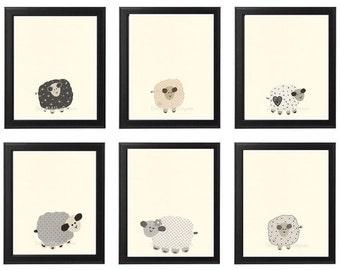 Baby Nursery Art, Nursery Art Decor, Baby room decor, Set of Prints Baby sheep, Lamb art, little sleepy sheep, Black and White baby decor