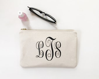 personalized monogrammed clutch, bridesmaid clutch, cosmetic bag, clutch purse, pencil pouch, travel bag, gift for her