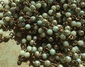 sale Chain Handmade rosary style beaded 4mm European glass MINT gold flash USA made American Artisan