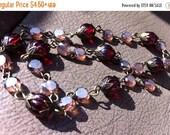 sale Valentine Edition Cranberry red Marsala wine sparkle handmade beaded chain