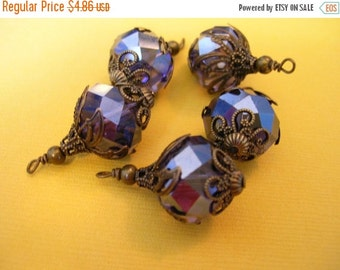 sale BD33 Vintage Style  Wire wrapped capped dangle charms Deep Purple Crystals mixed metal capped 2 pcs.