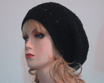 Slouchy Hat in Black - Hand Crocheted - Soft Acrylic Yarn - Handmade - Size Medium/Large - Slouch Hat - Great Gift