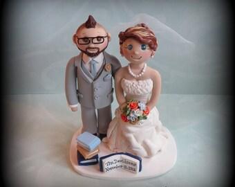 Wedding Cake Topper, Custom Wedding Topper, Bride and Groom, Books, Anniversary, Cake Topper, Personalized, Polymer Clay, Keepsake