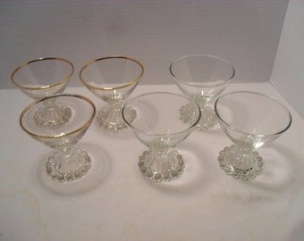 Lot of 6 Candlewick Clear Glass Small Wine or Drinking Glasses