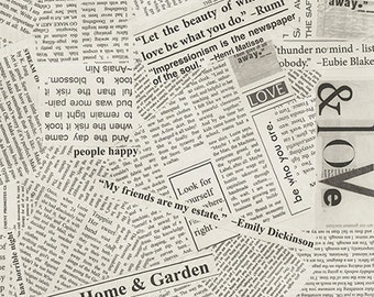 "Story Newsprint - 108"" Wide Quilt Backing"