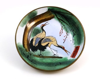 Vintage Asian Cranes Dish / Brass wrapped bowl / Wall hanging
