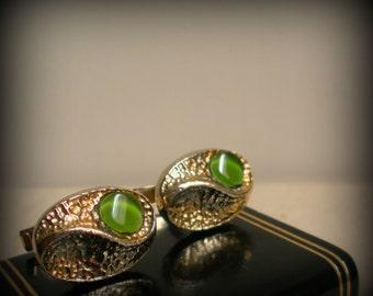 Green Martian Oval Glass Cuff Links