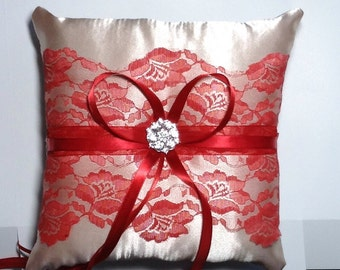 Wedding  ring bearer pillow champagne satin and red lace