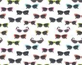 Glasses in White Novelty Fabric - by Riley Blake - Half Yard