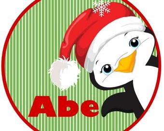 Christmas Penguin Peeping in Iron on