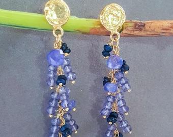 Gemstone Cluster Post Earrings Iolite Sapphire Tanzanite Post Earrings On Gold Vermeil
