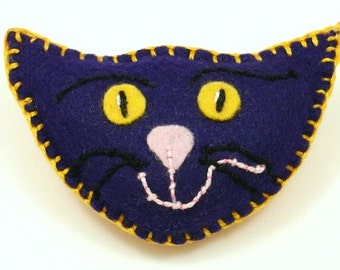 Catnip Toss Toys, Felt Cat Toys, Purple Cats, Cat Heads, Quirky Cat Toys, Handmade Cat Toys, Purple and Marigold Felt