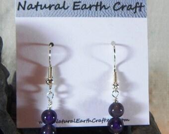 Dark purple amethyst earrings double rounds semiprecious stone jewelry gemstone February birthstone packaged in a gift bag 2646