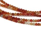 4mm Matte Carnelian round gemstone beads, full strand (1138s)