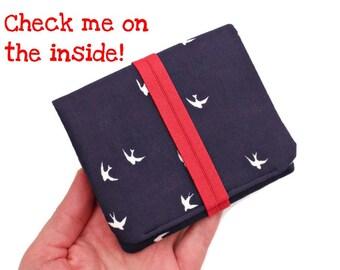 Cute Womens Wallet,Gift Card Holder,Boho Vegan Wallet,Blue Bird Wallet,Small Pocket Wallet,Mini Cash Wallet,Tiny Card Carrier,Brieftasche