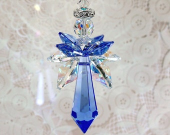 Angel Suncatcher m/w Swarovski® crystals, RARE Sapphire Icicle and AB & Sapphire Quad Wings, Car Charm, Home Ornament, Pearl Place N More