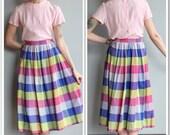 1950s Skirt // Multicolored Plaid Skirt // vintage 50s skirt