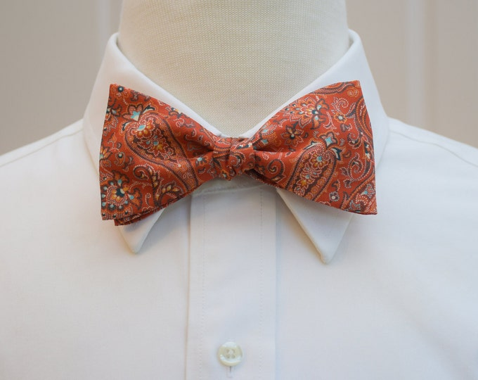 Mens Bow Tie, Liberty of London, orange/aqua paisley bow tie, Orizaba eastern print, groomsmen/groom bow tie, wedding bow tie, tux accessory