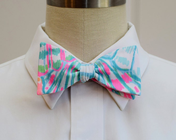 Men's Bow Tie, Oh Shello blue/pink neon pastels Lilly bow tie, groomsmen gift, wedding bow tie, groom bow tie, seashell tie Carolina Cup tie