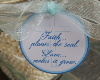 """Baptism, Christening, or First Communion  Favor Tags - Faith Plants the Seed - for your Plant or Seed Thank You Favors - (50) 1.5"""" Gift Tags"""