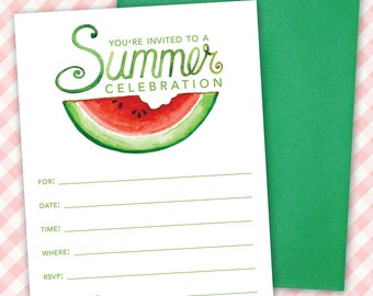 Printable Watermelon Birthday Party Invitation, Summer Celebration Invite, Custom Party Invitation - Instant Download