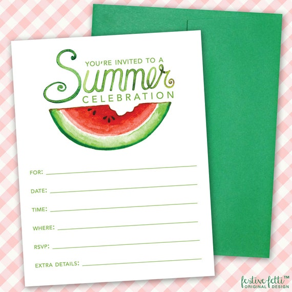Watermelon birthday party invitation summer party printable il570xn filmwisefo