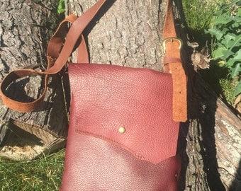 Light Burgandy Whole Leather Bag